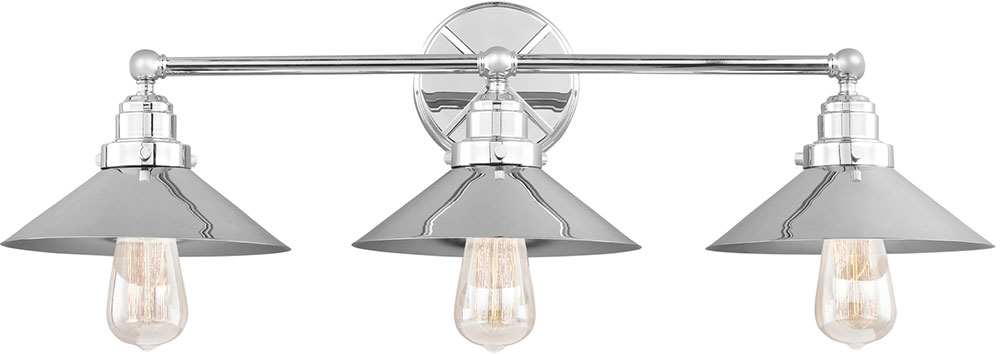 Chrome Bathroom Light feiss vs23403ch hooper retro chrome 3-light bathroom light - mf