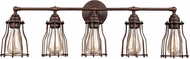 Feiss VS24005PRZ Calgary Contemporary Parisian Bronze 5-Light Bathroom Sconce Lighting