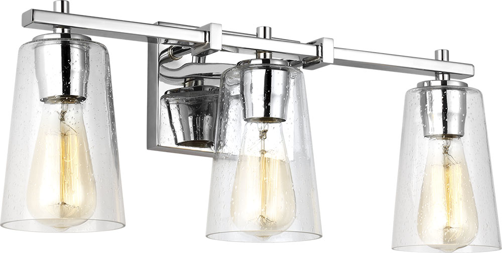 Chrome Bath Lighting Fixtures: Feiss VS24303CH Mercer Contemporary Chrome 3-Light