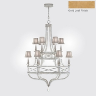 Fine Art Lamps 857640-21ST Prussian Neoclassic Brandenburg Gold Leaf Chandelier Light w/ Shades