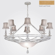 Fine Art Lamps 858840-21ST Prussian Neoclassic Brandenburg Gold Leaf Ceiling Chandelier w/ Shades