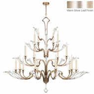 Fine Art Lamps 863940ST Ice Sculpture Warm-toned Silver Leaf Hanging Chandelier