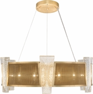 Fine Art Lamps 890840-22ST Crownstone Modern Gold 32  Drum Hanging Pendant Lighting