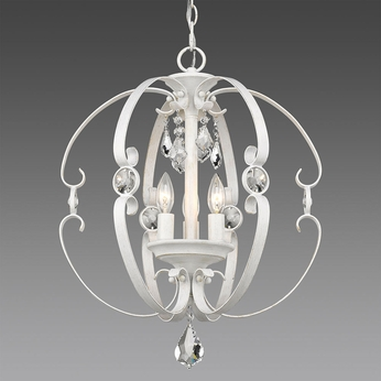 Golden Lighting 1323-3P-FW Ella FW French White Mini Chandelier Light