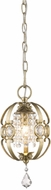 Golden Lighting 1323-M1L-WG Ella White Gold Halogen Mini Hanging Pendant Light