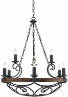 Golden Lighting 1821-9-BI Madera Country Black Iron Chandelier Light