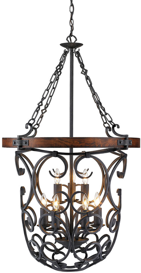 Rustic Foyer Pendant Lighting : Golden lighting p bi madera rustic black iron