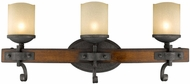 Golden Lighting 1821-BA3-BI Madera Rustic Black Iron Halogen 3-Light Bath Wall Sconce