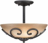 Golden Lighting 1821-SF-BI Madera Country Black Iron Semi-Flush Flush Mount Light Fixture / Pendant Light