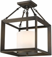 Golden Lighting 2073-SF-GMT-OP Smyth Modern Gunmetal Bronze Semi-Flush Overhead Light Fixture / Hanging Lamp
