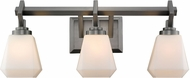 Golden Lighting 2712-BA3-AS-OP Hollis Contemporary Aged Steel 3-Light Bathroom Light