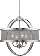 Golden Lighting 3167-4P-PW-PW Colson PW Modern Pewter Mini Chandelier Light (with shade)