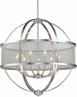 Golden Lighting 3167-9-PW-PW Colson PW Modern Pewter Ceiling Chandelier (with shade)