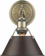 Golden Lighting 3306-BA1-AB-RBZ Orwell AB Contemporary Aged Brass Wall Light Fixture