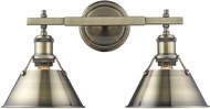 Golden Lighting 3306-BA2-AB-AB Orwell AB Contemporary Aged Brass 2-Light Bathroom Light Fixture