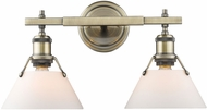 Golden Lighting 3306-BA2-AB-OP Orwell AB Modern Aged Brass 2-Light Bathroom Vanity Lighting