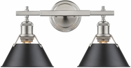 Golden Lighting 3306-BA2-PW-BLK Orwell PW Modern Pewter 2-Light Bathroom Sconce