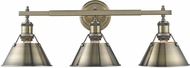Golden Lighting 3306-BA3-AB-AB Orwell AB Contemporary Aged Brass 3-Light Vanity Lighting Fixture