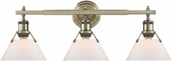 Golden Lighting 3306-BA3-AB-OP Orwell AB Modern Aged Brass 3-Light Bathroom Vanity Light Fixture