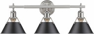 Golden Lighting 3306-BA3-PW-BLK Orwell PW Modern Pewter 3-Light Bath Wall Sconce