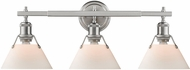 Golden Lighting 3306-BA3-PW-OP Orwell PW Contemporary Pewter 3-Light Bathroom Light Sconce