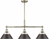 Golden Lighting 3306-LP-AB-RBZ Orwell AB Contemporary Aged Brass Kitchen Island Lighting