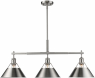 Golden Lighting 3306-LP-PW-PW Orwell PW Contemporary Pewter Island Light Fixture
