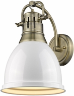 Golden Lighting 3602-1W-AB-WH Duncan AB Contemporary Aged Brass Wall Lighting Fixture