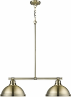 Golden Lighting 3602-2LP-AB-AB Duncan AB Modern Aged Brass 2-Light Kitchen Island Light Fixture