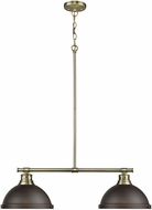 Golden Lighting 3602-2LP-AB-RBZ Duncan AB Contemporary Aged Brass 2-Light Island Lighting