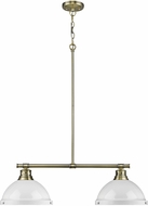 Golden Lighting 3602-2LP-AB-WH Duncan AB Modern Aged Brass 2-Light Kitchen Island Lighting