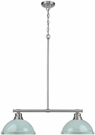 Golden Lighting 3602-2LP-PW-SF Duncan Modern Pewter 2-Light Kitchen Island Lighting