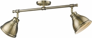 Golden Lighting 3602-2SF-AB-AB Duncan AB Contemporary Aged Brass 2-Light Track Lighting