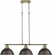 Golden Lighting 3602-3LP-AB-RBZ Duncan AB Contemporary Aged Brass 3-Light Island Light Fixture
