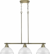 Golden Lighting 3602-3LP-AB-WH Duncan AB Modern Aged Brass 3-Light Kitchen Island Light Fixture