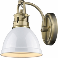 Golden Lighting 3602-BA1-AB-WH Duncan AB Modern Aged Brass Wall Sconce