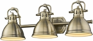 Golden Lighting 3602-BA3-AB-AB Duncan AB Contemporary Aged Brass 3-Light Bathroom Sconce Lighting