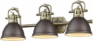 Golden Lighting 3602-BA3-AB-RBZ Duncan AB Modern Aged Brass 3-Light Bath Lighting Sconce