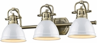 Golden Lighting 3602-BA3-AB-WH Duncan AB Contemporary Aged Brass 3-Light Bathroom Wall Light Fixture