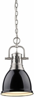 Golden Lighting 3602-S-PW-BK Duncan Contemporary Pewter Small Pendant Hanging Light