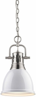Golden Lighting 3602-S-PW-WH Duncan Contemporary Pewter Small Ceiling Light Pendant