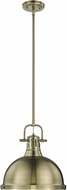 Golden Lighting 3604-L-AB-AB Duncan AB Contemporary Aged Brass Hanging Lamp