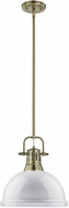 Golden Lighting 3604-L-AB-WH Duncan AB Contemporary Aged Brass Pendant Light Fixture