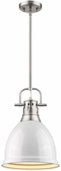Golden Lighting 3604-S-PW-WH Duncan Modern Pewter Small Drop Lighting Fixture