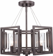 Golden Lighting 6068-SF-GMT Marco Contemporary Gunmetal Bronze Semi-Flush Flush Mount Lighting Fixture / Pendant Hanging Light