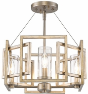 Golden Lighting 6068-SF-WG Marco Modern White Gold Semi-Flush Flush Ceiling Light Fixture / Hanging Light Fixture
