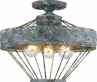 Golden Lighting 7856-SF-VP Ferris Traditional Blue Verde Patina Flush Mount Light Fixture