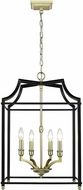Golden Lighting 8401-4P-SB-BLK Leighton SB Satin Brass 16.75  Foyer Lighting Fixture