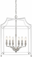 Golden Lighting 8401-6P-PW-WH Leighton PW Pewter 20.5  Foyer Lighting