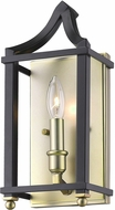 Golden Lighting 8401-WSC-SB-BLK Leighton SB Satin Brass Lighting Sconce